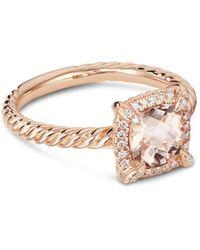 David Yurman Petite Châtelaine® Pavé Bezel Ring In 18k Rose Gold With Morganite - Metallic