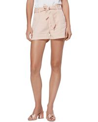 PAIGE Anessa High Rise Belted Shorts - Pink