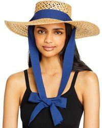 Aqua Straw Boater Hat - Natural