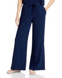 Three Dots Side Slit Gauze Trousers - Blue
