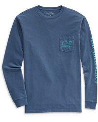 Vineyard Vines Long Sleeve Garment Dyed Vintage Whale Tee - Blue