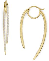 Nadri Curved Spike Hoop Earrings - Metallic