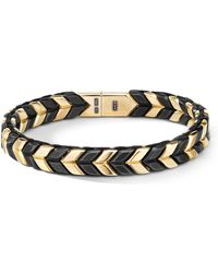 David Yurman 18k Yellow Gold Chevron Woven Bracelet With Black Titanium