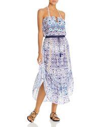 Ramy Brook Luna Printed Strapless Dress - Blue