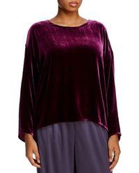 Eileen Fisher Velvet High/low Top - Purple