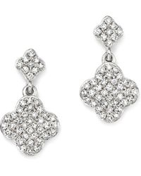 KC Designs | 14k White Gold Diamond Clover Drop Earrings | Lyst