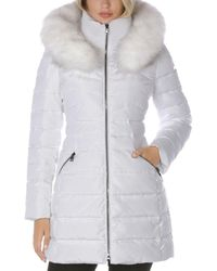 Laundry by Shelli Segal Faux Fur Trim Hooded Puffer Coat - White