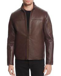 Cole Haan - Zip - Front Leather Jacket - Lyst