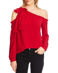 Cece One-shoulder Long Sleeve Blouse - Red