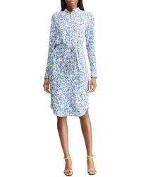 ed3566a7890c4 Lyst - Polo Ralph Lauren Polka-dot Silk Georgette Dress in Blue