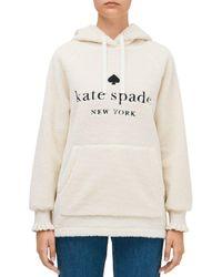Kate Spade Logo Sherpa Hoodie - Natural