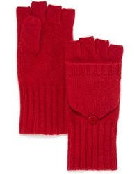 C By Bloomingdale's Ribbed Pop - Top Cashmere Gloves - Red