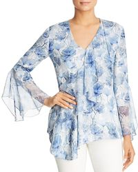 f2e3257f090235 Lyst - Elie Tahari Torence Floral Print Silk Blouse in Blue