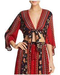 Band Of Gypsies - Floral-print Tie-front Top - Lyst