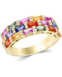 Bloomingdale's Multicolour Sapphire And Diamond Ring In 14k Yellow Gold - Metallic