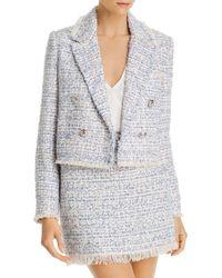 Aqua Fringed Tweed Blazer - White