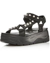 Aqua Women's Sun Strappy Wedge Platform Sandals - Black