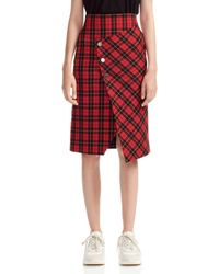 Maje Janty Asymmetric Tartan Twill Wrap Skirt - Red