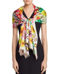 Echo Summer Floral Oblong Scarf - White