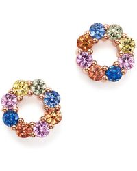 Bloomingdale's - Multicolored Sapphire Open Circle Stud Earrings In 14k Rose Gold - Lyst