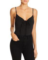 Tiger Mist Halation Ruched Drawstring Bodysuit - Black