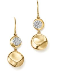 Ippolita | 18k Yellow Gold Onda Diamond Pebble Drop Earrings | Lyst