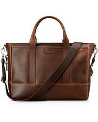 Shinola Medium Leather Briefcase - Brown