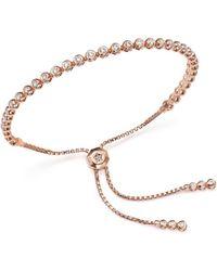Bloomingdale's Diamond Bezel Tennis Bolo Bracelet In 14k Rose Gold - Metallic