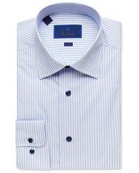 David Donahue Trim Fit Long Sleeve Dress Shirt - Blue