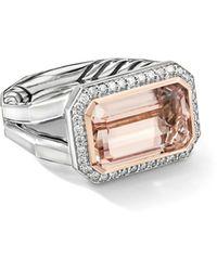 David Yurman Sterling Silver Novella Statement Ring With Morganite - Metallic