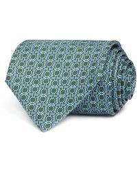 Ferragamo - Geometric-gancio-print Silk Twill Necktie - Lyst