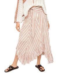 Free People Giselle Chevron Asymmetric Maxi Skirt - Pink