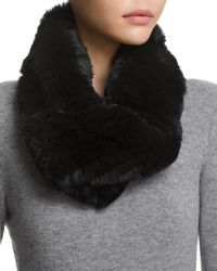 Surell Twisted Rabbit Fur Loop Scarf - Black