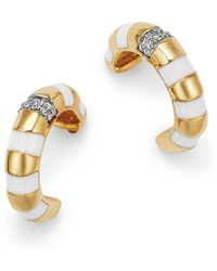 Adina Reyter - 14k Yellow Gold Pavé Diamond Striped Huggie Hoop Earrings - Lyst