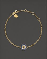 "Meira T - 14 Kt. Yellow Gold/diamond ""evil Eye"" Bracelet - Lyst"