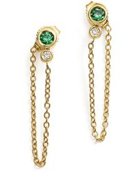Bloomingdale's - Emerald & Diamond Front - To - Back Chain Drop Earrings In 14k Yellow Gold - Lyst