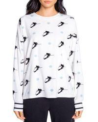 Pj Salvage Ski Print Pyjama Top - White