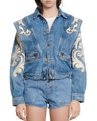 Sandro Kevin Embroidered Denim Jacket - Blue