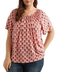 Lucky Brand - Short - Sleeve Floral - Print Top - Lyst