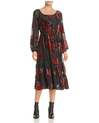 June & Hudson - Velvet Floral Burnout Midi Dress - Lyst