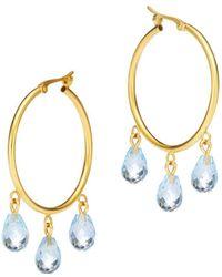 Bloomingdale's - Blue Topaz Briolette Hoop Earrings In 14k Yellow Gold - Lyst
