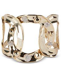 Alexis Bittar Pavé Studded Interlink Cuff Bracelet - Metallic