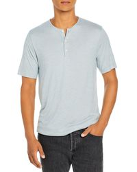 Theory Sharp Slub Textured Stripe Henley - Blue