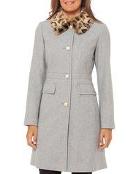 Kate Spade Leopard Print Faux Fur Collar Wool Blend Coat - Grey