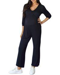 Ingrid & Isabel Maternity V Neck Jumpsuit - Black