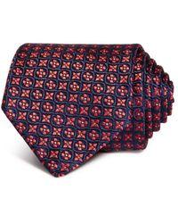 Black Canali Mens Floral Medallion Silk Classic Tie OS