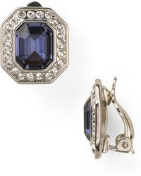 Carolee - Royal Blue Crystal Button Clip-on Earrings - Lyst