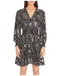Maje Robany Printed Crepe Sequin Dress - Black