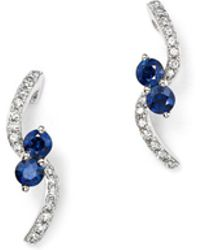 KC Designs | 14k White Gold Diamond & Sapphire Curve Earrings | Lyst