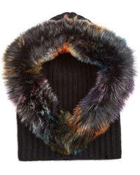 Jocelyn Faux Fur Trim Knit Hood - Black